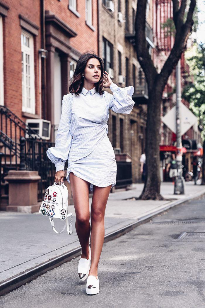 df01afbdee60 NYFW SS17 outfit - striped mini shirt dress + platform sneakers ...