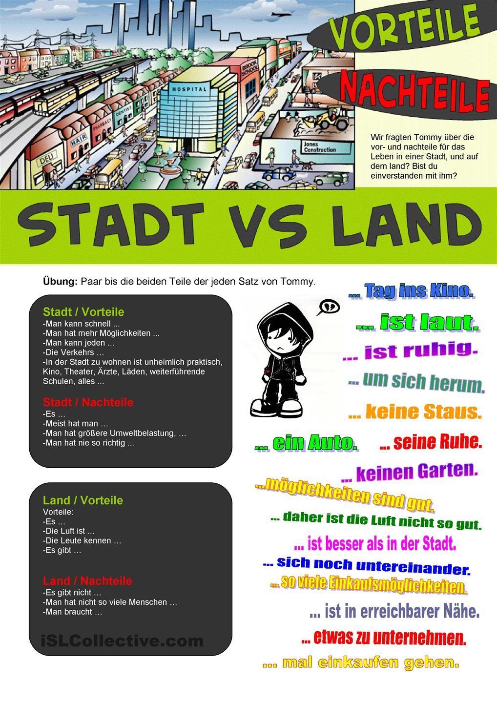 Stadt vs Land Nachteile Vorteile Ich liebe Deutsch Pinterest Language, German language