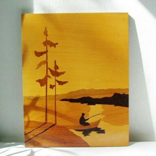 Wood Panel, Sunset Wall Hanging, Vintage Intarsia, Fisherman Gift ...