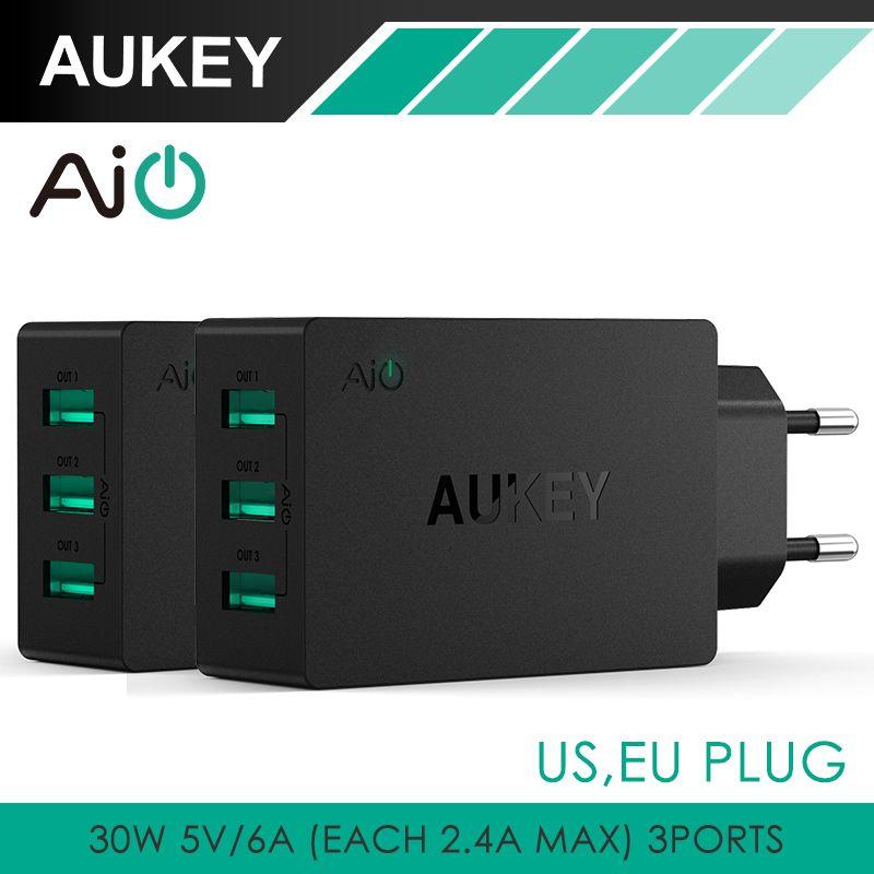 AUKEY 30 W 3 Puertos USB Universal de Pared Cargador de Pared Portátil de Viaje adaptador de cargador de múltiples puertos usb para iphone tablet ipad & más