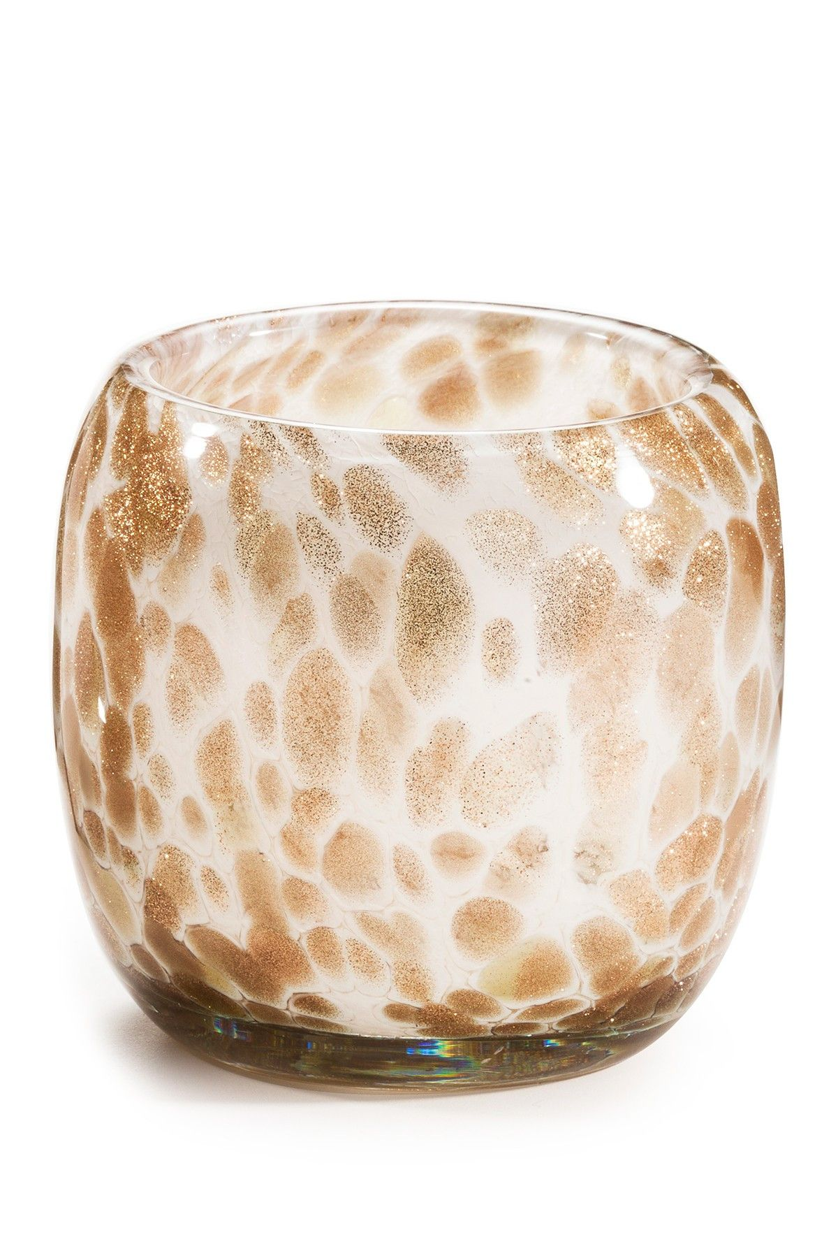 Glitter-spangled glass looks beautiful whether used as a votive holder or a vase.