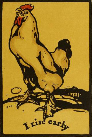 'I rise early.' Plate by William Nicholson from 'The May Book' compiled by Mrs Aria. Published 1901 by Macmillan & Co. archive.org