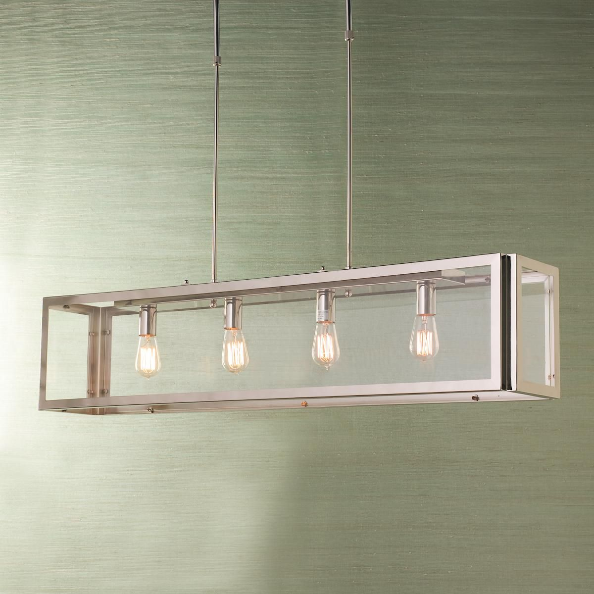 Industrial Modern Island Chandelier Rectangular Light Fixture