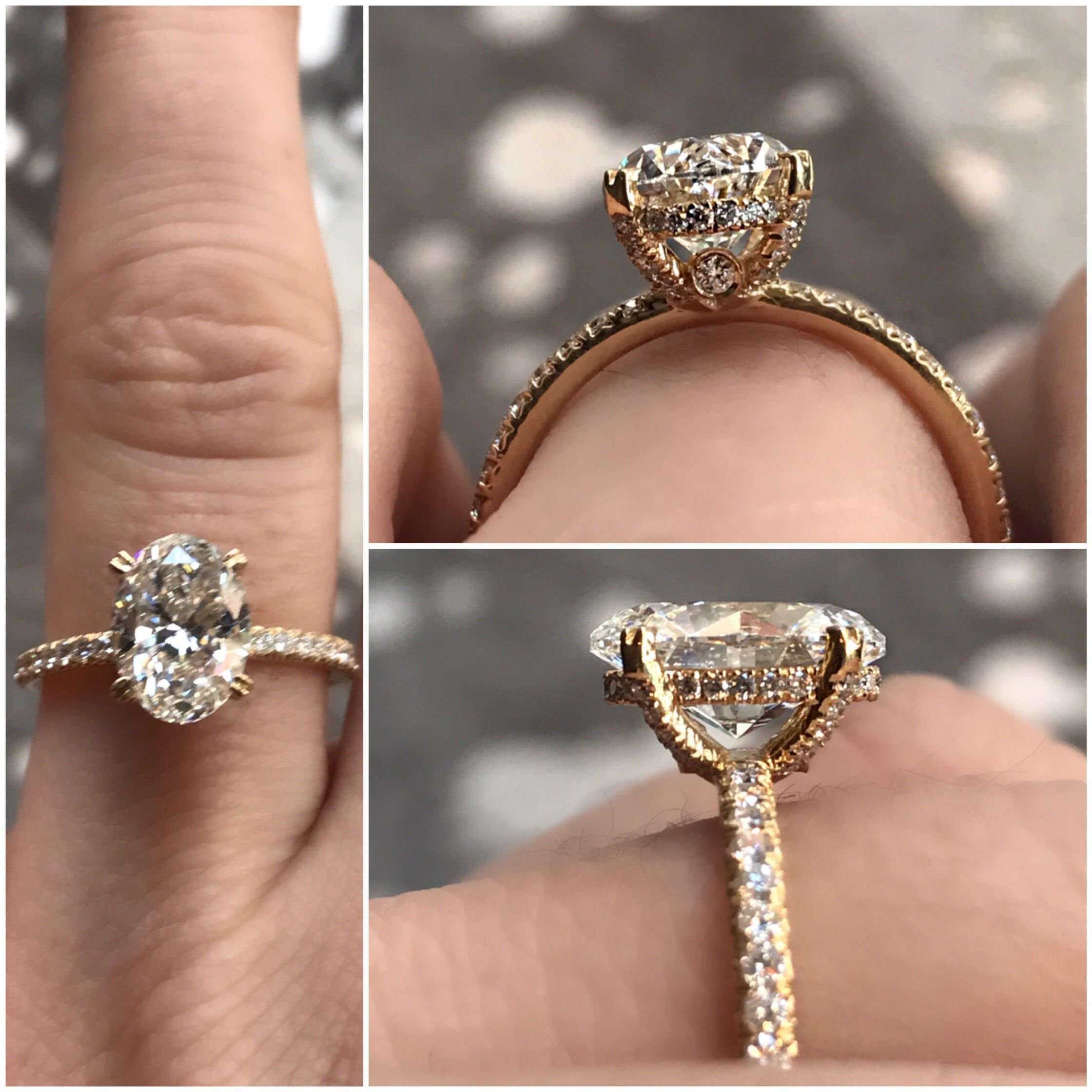Oval diamond engagement ring Vintage inspired hand crafted made