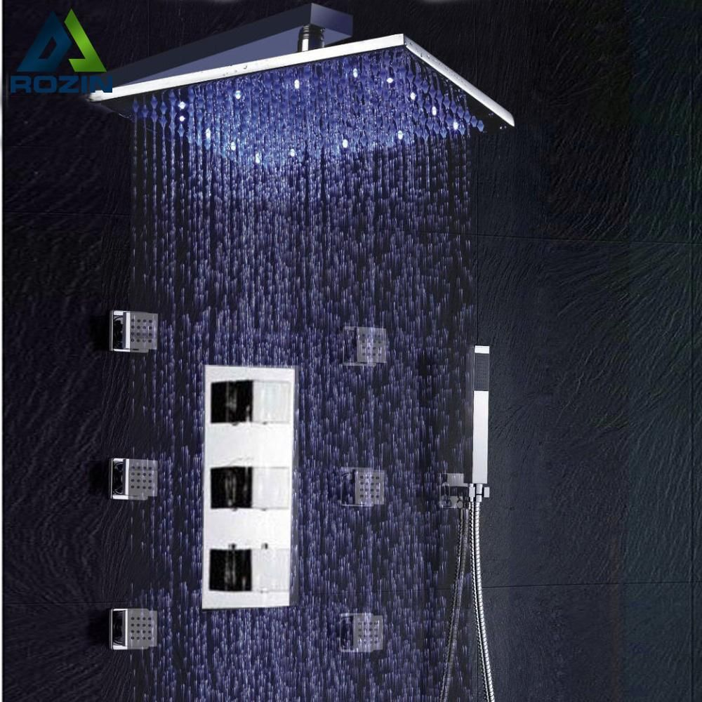 Bathroom Thermostatic Shower Panel Valve Faucets 12\
