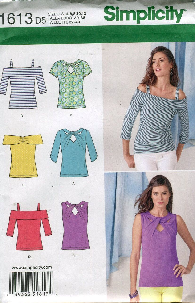 Simplicity 1613 Misses Knit Tops Sewing Pattern Off Shoulder Twist ...