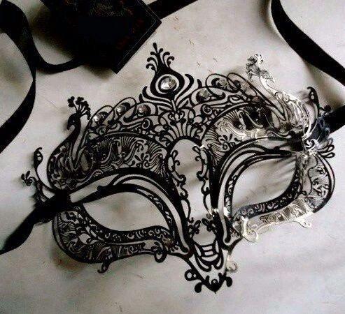 Argent et Noir Superbe Vénitien Masquerade Fête Masque Yeux Vert