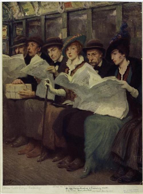 Women reading on the New York City Subway