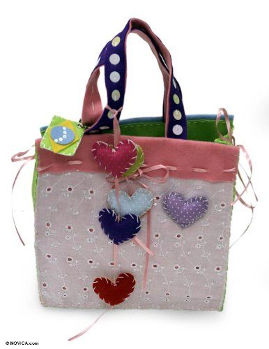 Cotton handbag, 'Candy Hearts'