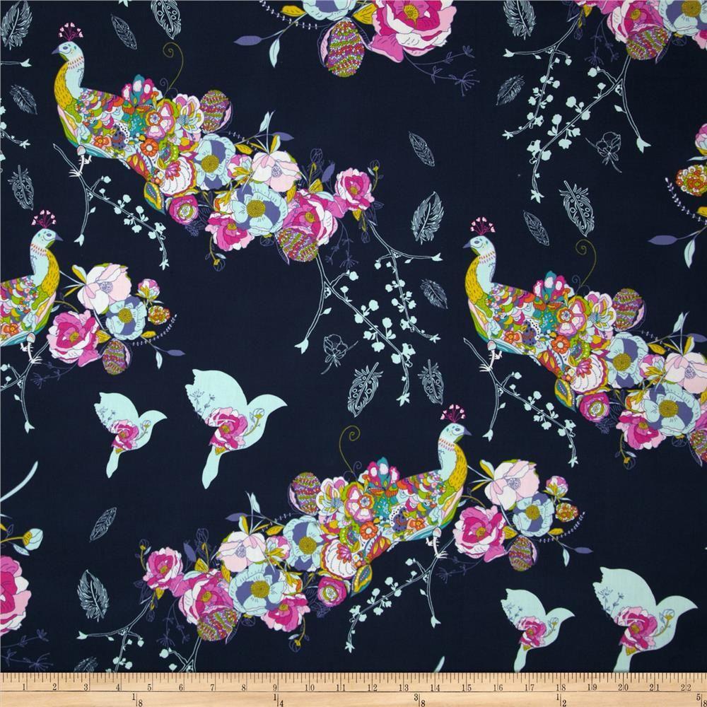 Art Petal And Plume Peacock Waltz Gala Fabric