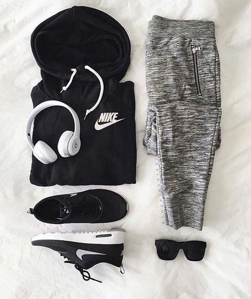 nice Pants: nike sports grey grey sweat nike sweater black hoodie  sportswear nike sneakers