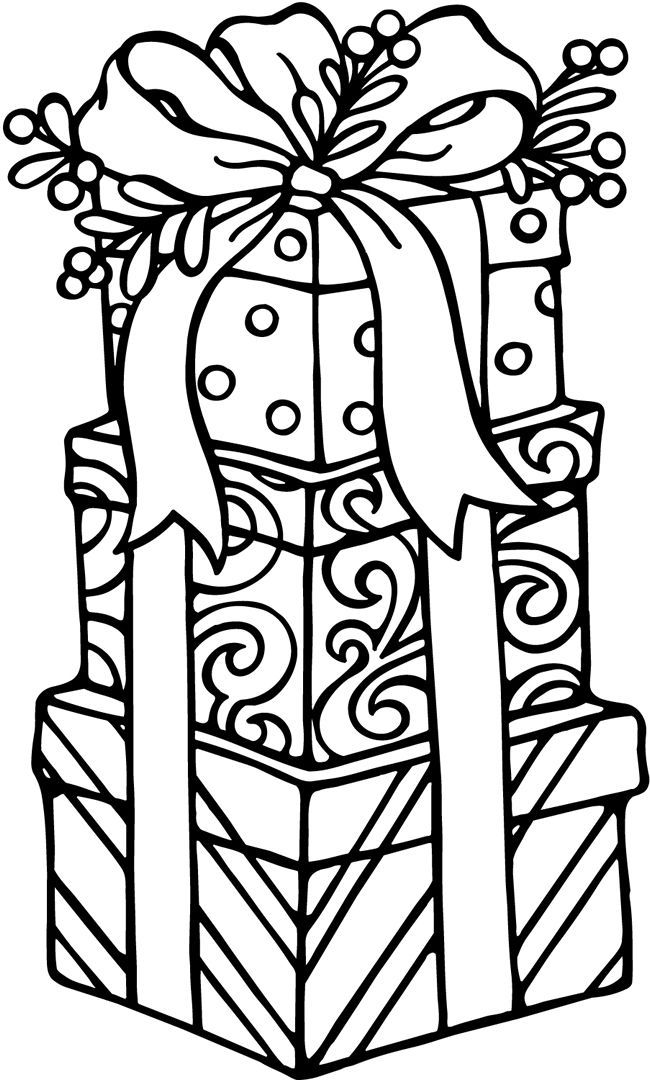 welcome to dover publications christmas clip art for machine embroidery - Christmas Present Coloring Page