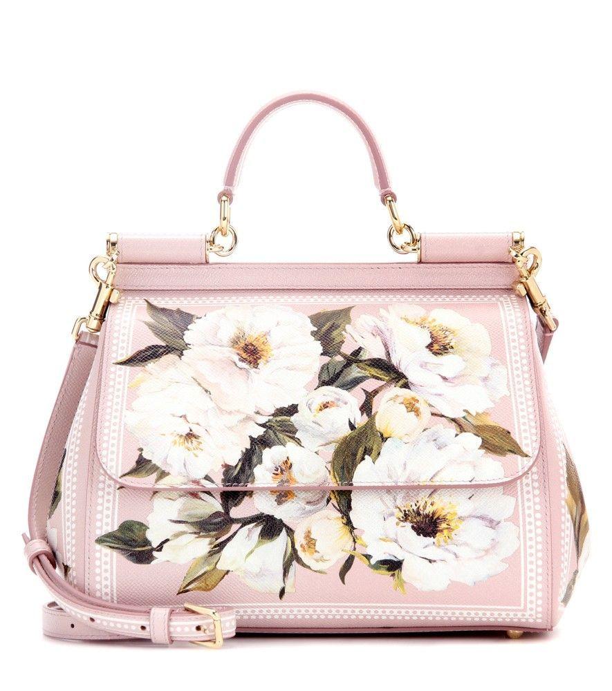 Dolce Gabbana - Ledertasche Miss Sicily mit Print rosa mit Blumendruck d72169c4d5021