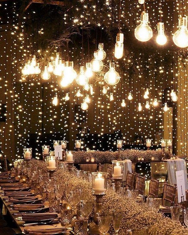 20 Creative Ideas For Wedding Reception Lighting Country Wedding Reception Wedding Lights Wedding Reception Lighting