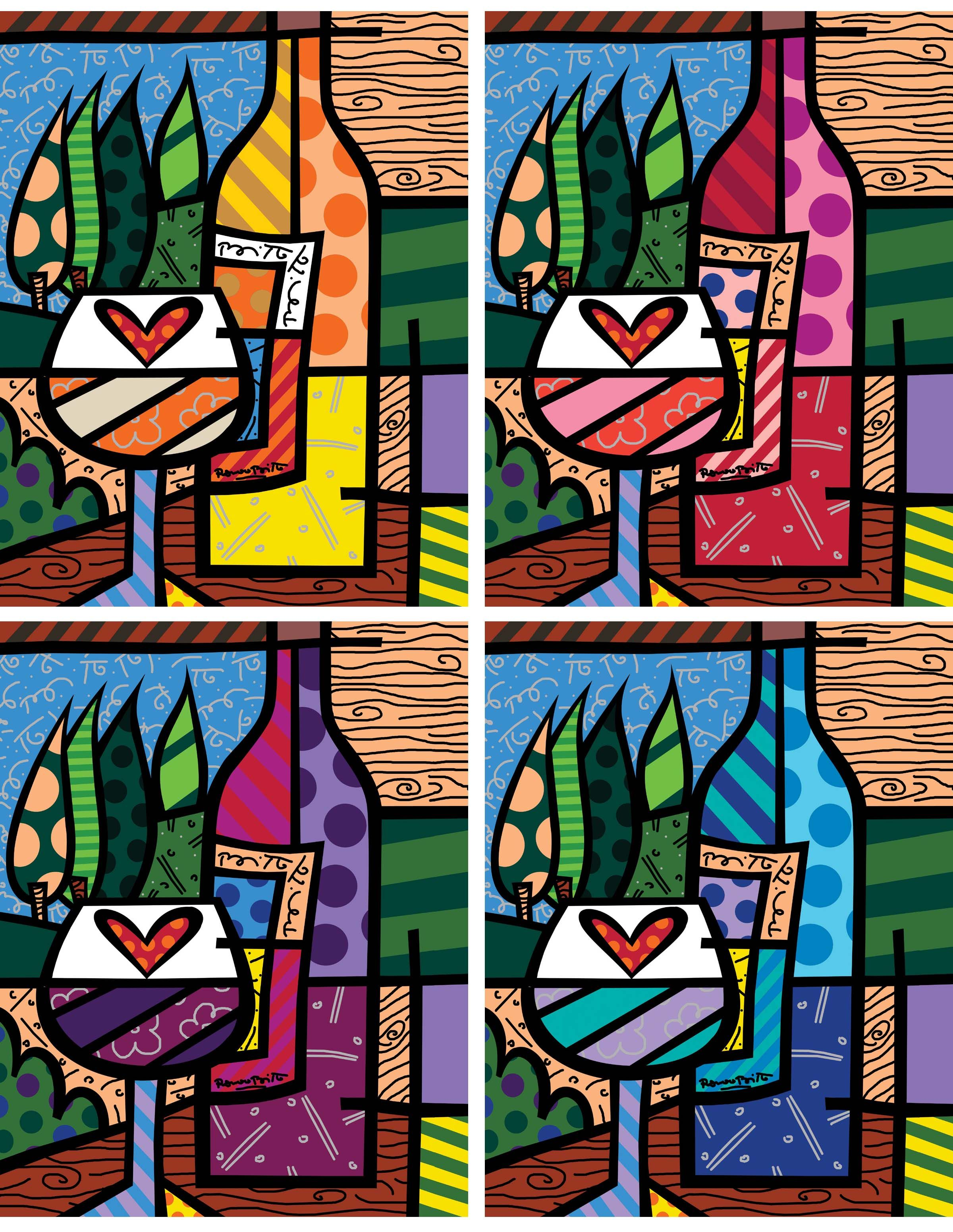 """WINE WINE (2006) Four Color Series, 36"""" x 28"""" Giclee on canvas, hand embellished by Romero Britto."""