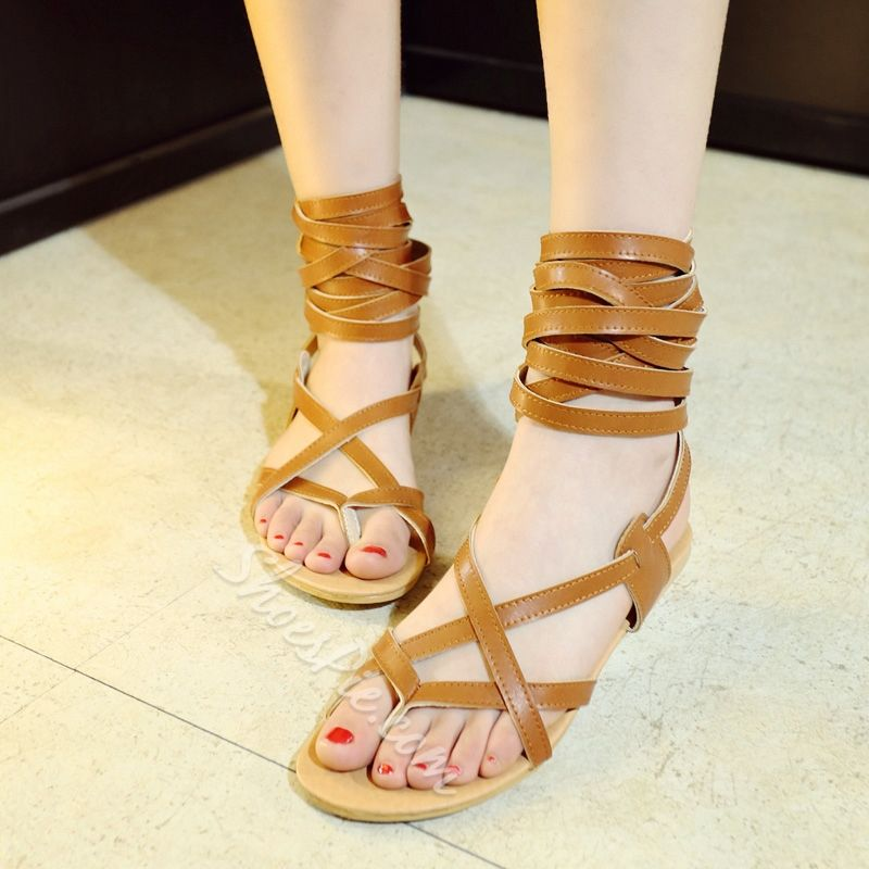 57f0fabc945 Ankle Wrap Up Flat Gladiator Sandals. Shoespie ...