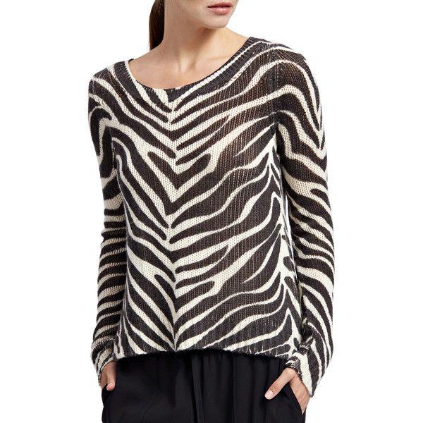 5ca39f535ba32 CALYPSO St. Barth Iqua Zebra Printed Cashmere Sweater (£315) ❤ liked on