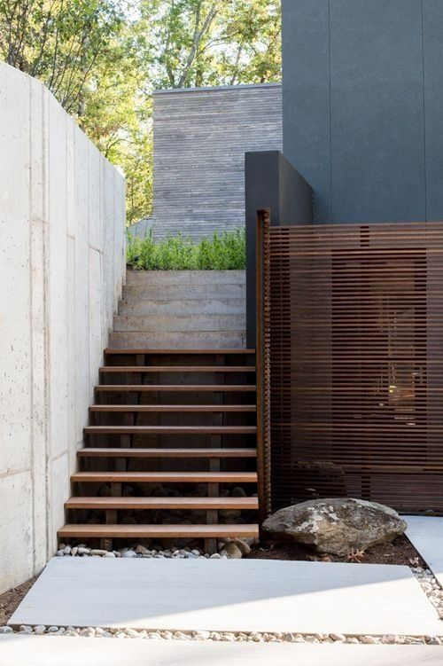 Best Great Mix Of Textures Exterior Stairs Contemporary 400 x 300