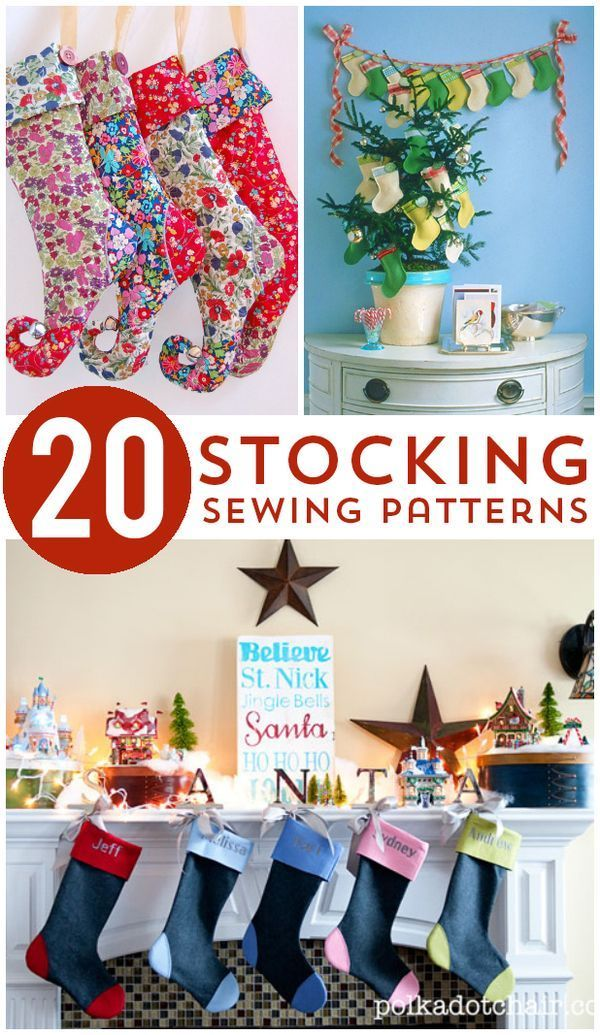 20 Christmas Stockings to Sew   Sew pattern, Stockings and Patterns