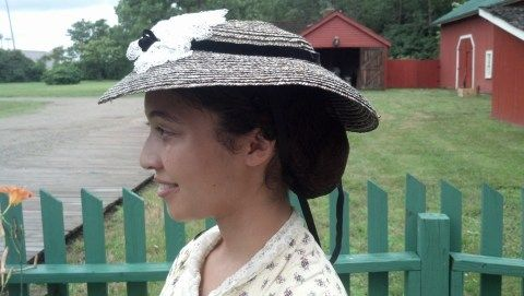 1860s grey straw sun hat by Crowned Heads Millinery