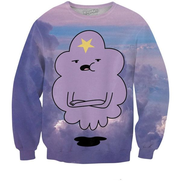 Lumpy Space Princess Sweatshirt ($60) ❤ liked on Polyvore featuring tops, hoodies, sweatshirts, purple top and purple sweatshirt