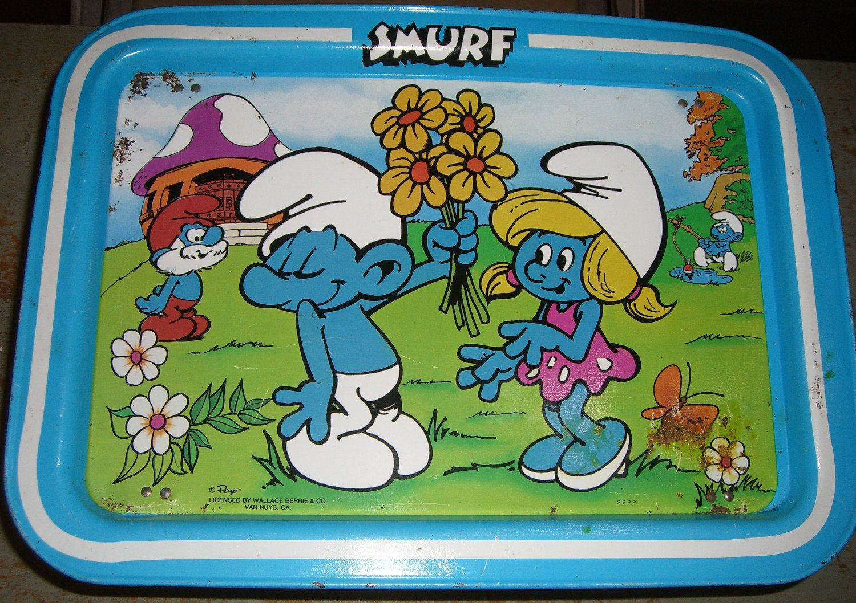 Vintage Smurf Tray, Metal T.V. Tray, Child's Tray Metal