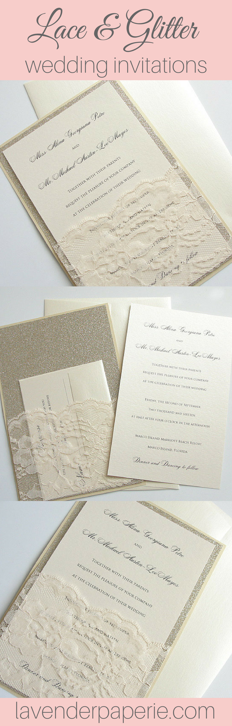 Polka dot wedding invitation modern snow snowfall