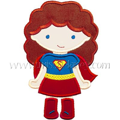 Super Girl (Curls) Applique Design