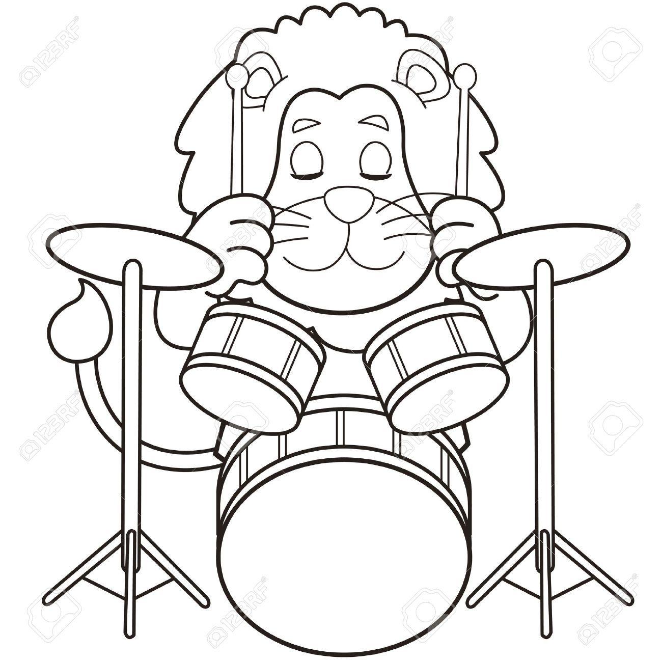 Stock Vector Black White Cartoon Cartoon Lion Drums Wallpaper