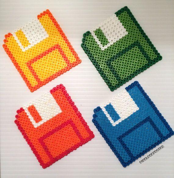 8Bit Floppy Disc Pixel Coasters | Set of 4 Retro Computer Nerd Gift by @PixelPerfectAZ #Perler #MeltyBead