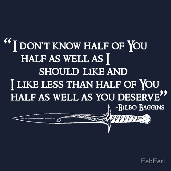"""Lord Of The Rings - """"Bilbo Quote"""" (White)"""" T-Shirts & Hoodies by FabFari 