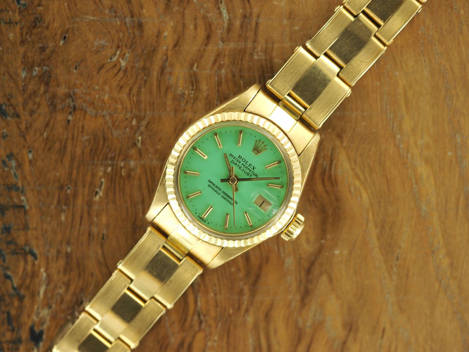 7f90b8b67df 18k Gold Rolex Ladies Datejust Ref. 6917 Mint Green Stella Dial ...