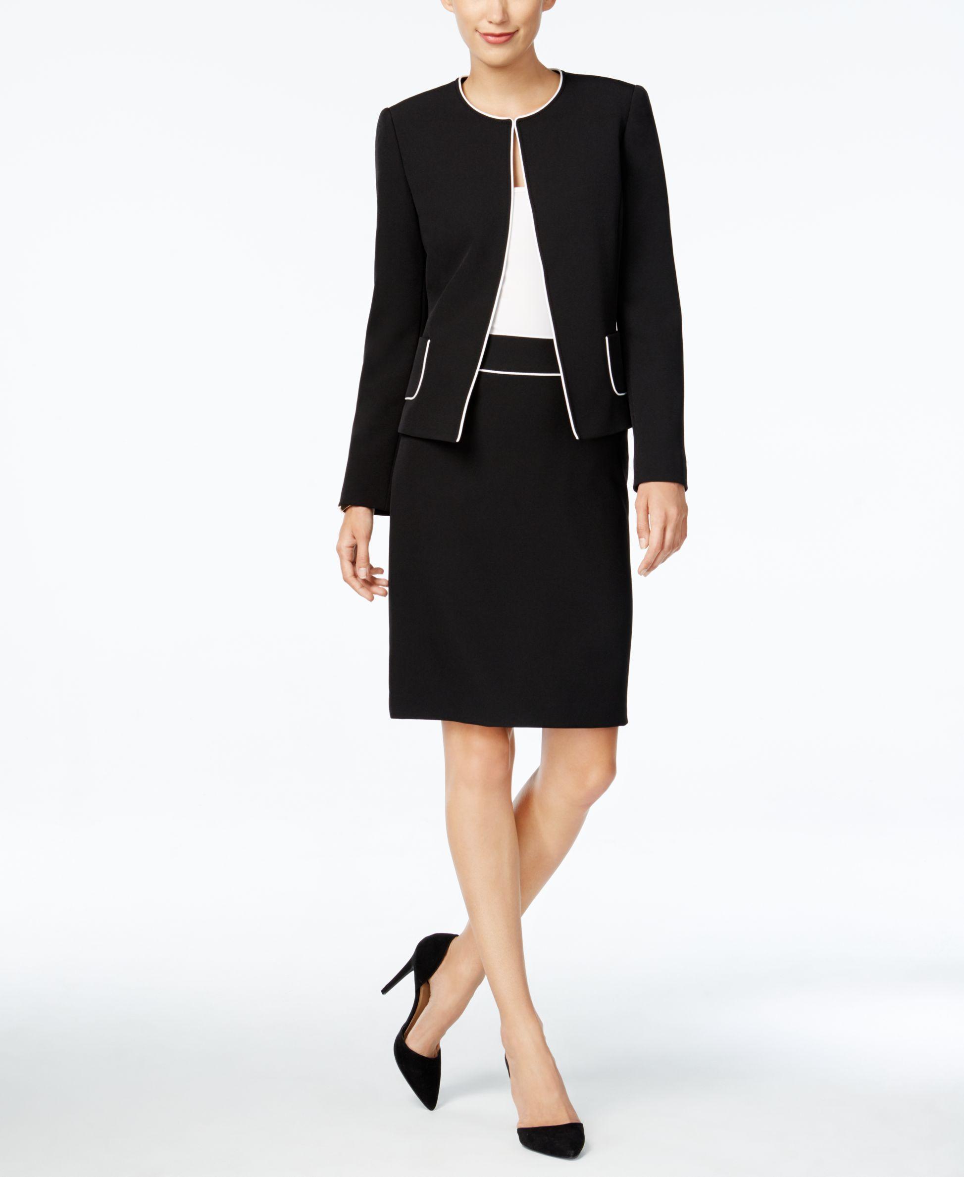 b4cbfacc78d Tahari Asl Petite Crepe Piped Skirt Suit | My Style in 2019 | Suits ...