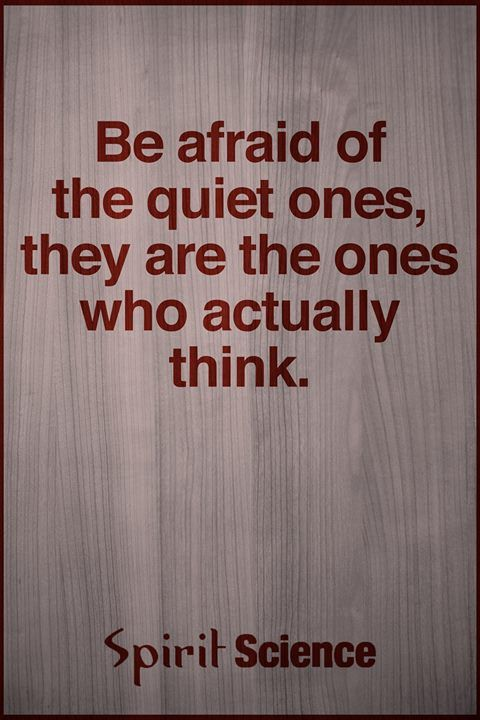 Be afraid of the quiet ones, they are the ones who