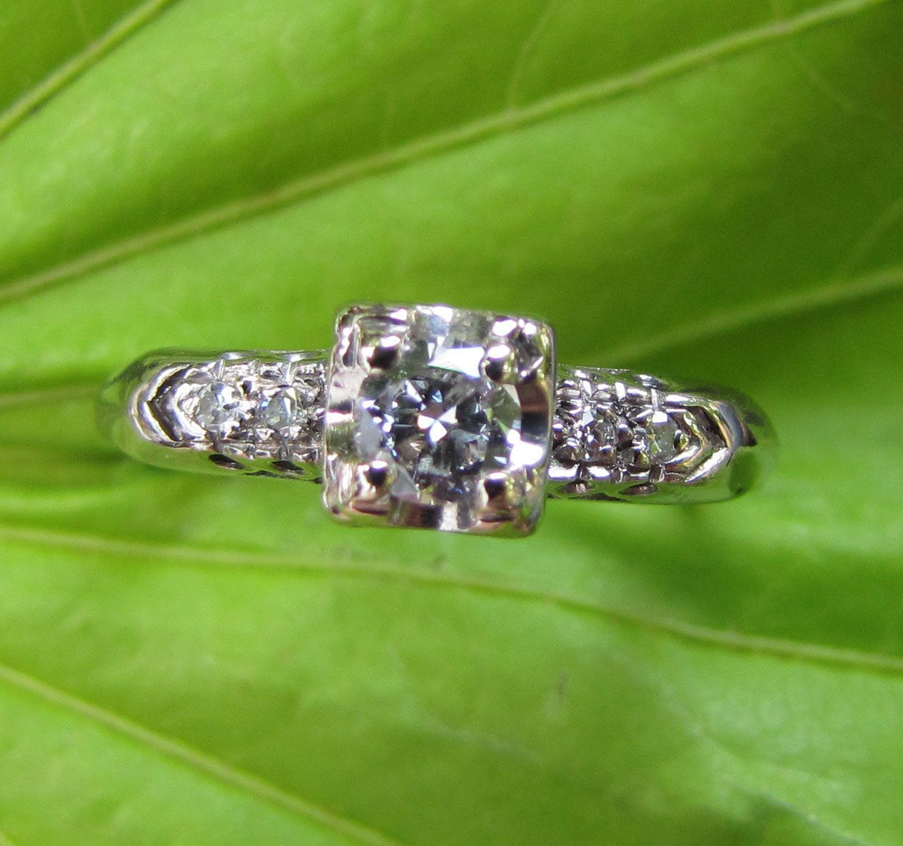 White Gold : Antique Engagement Ring - Illusion-Head Solitaire Diamond with Accents - 1940s 1950s. $359.99, via Etsy.