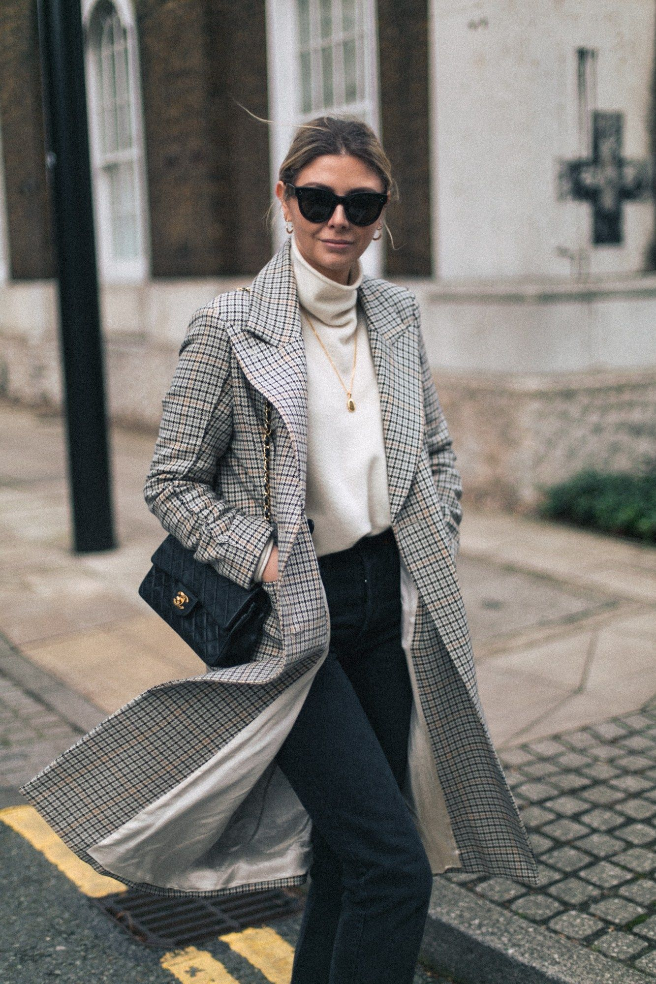 Emma Hill Wears Celine Baby Audrey Sunglasses Check Coat