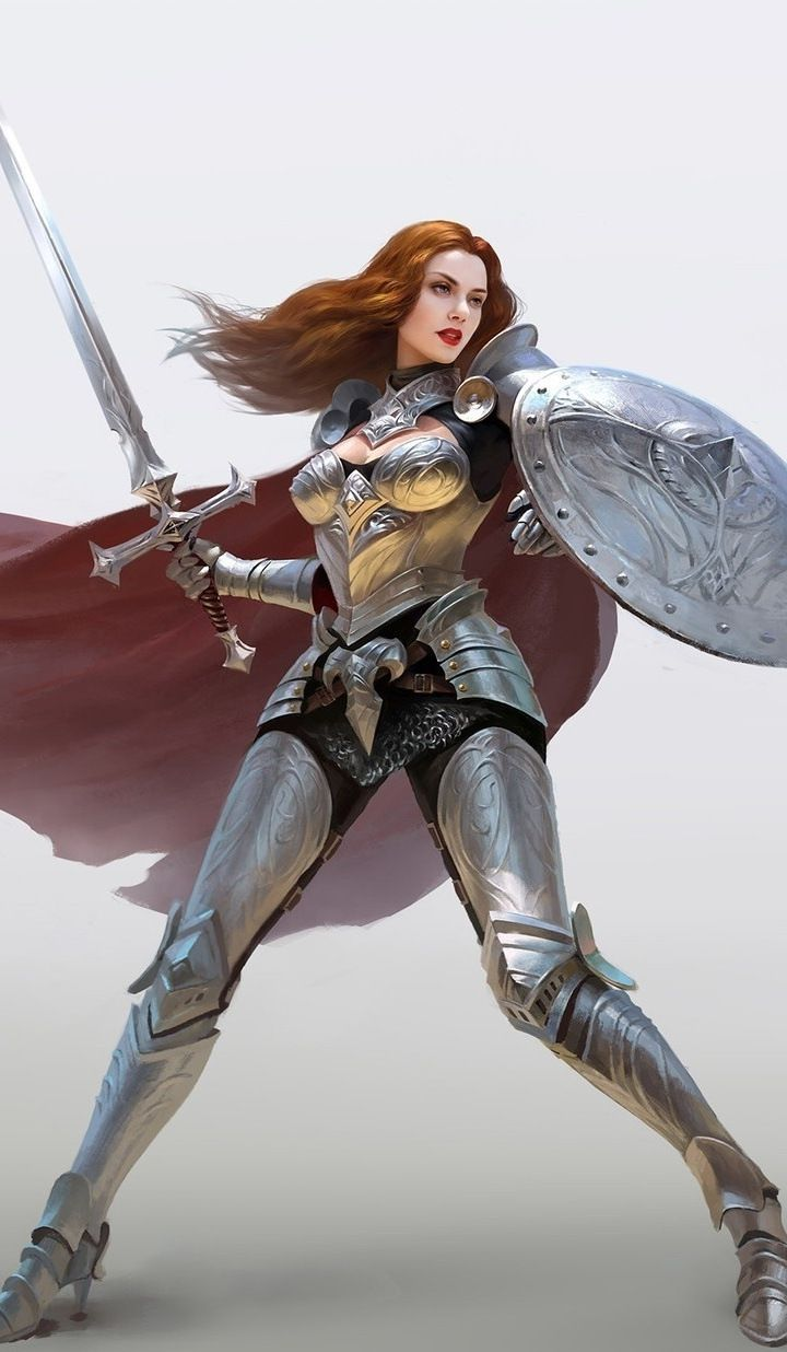 Download 720x1280 wallpaper Fantasy, woman with sword and