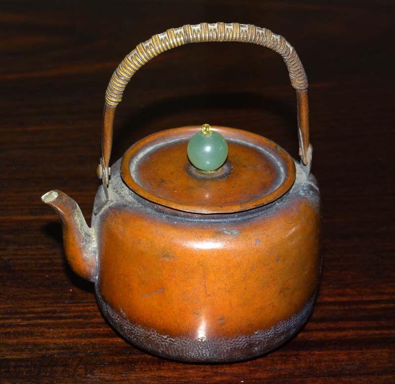 Antique Japanese copier tea kettle