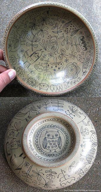 Wooden Doodle Bowl - Flora Chang - Happy Doodle Land