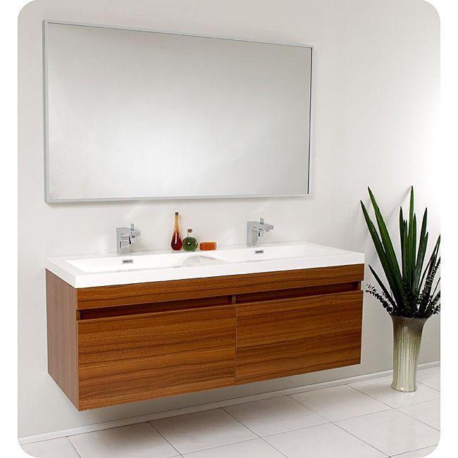 This Fresca Largo Modern Bathroom Vanity Features A Teak Finish