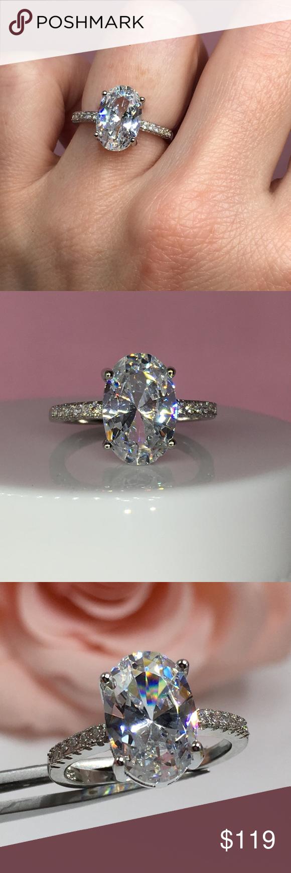 14k white gold oval diamond ring wedding 💍 stunning 3 ct