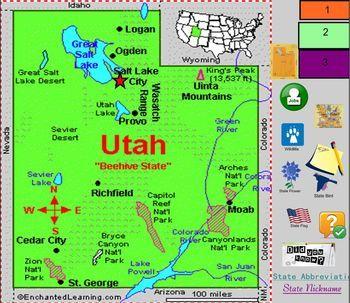 All About Utah | 4th Grade Social Stus | Utah map, Utah ... on ogden utah map usa, vernal utah map usa, kansas city kansas map usa,