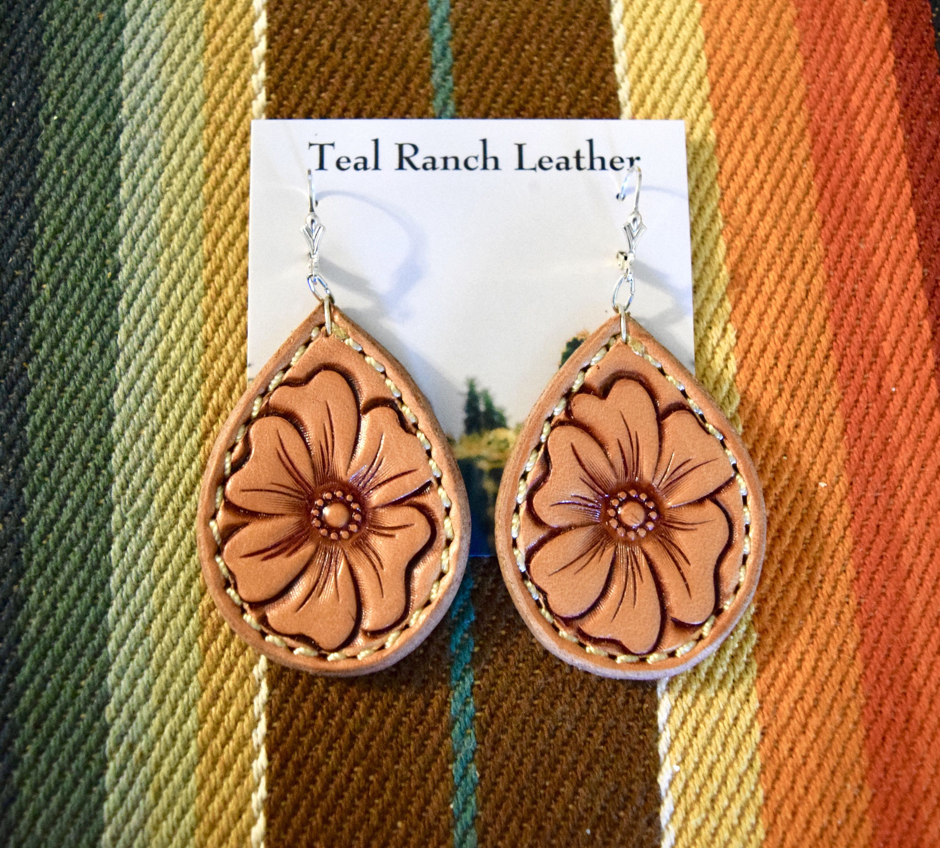 Personalized Leather Earrings Leather Jewels Orange and Red Leather Flower Earrings