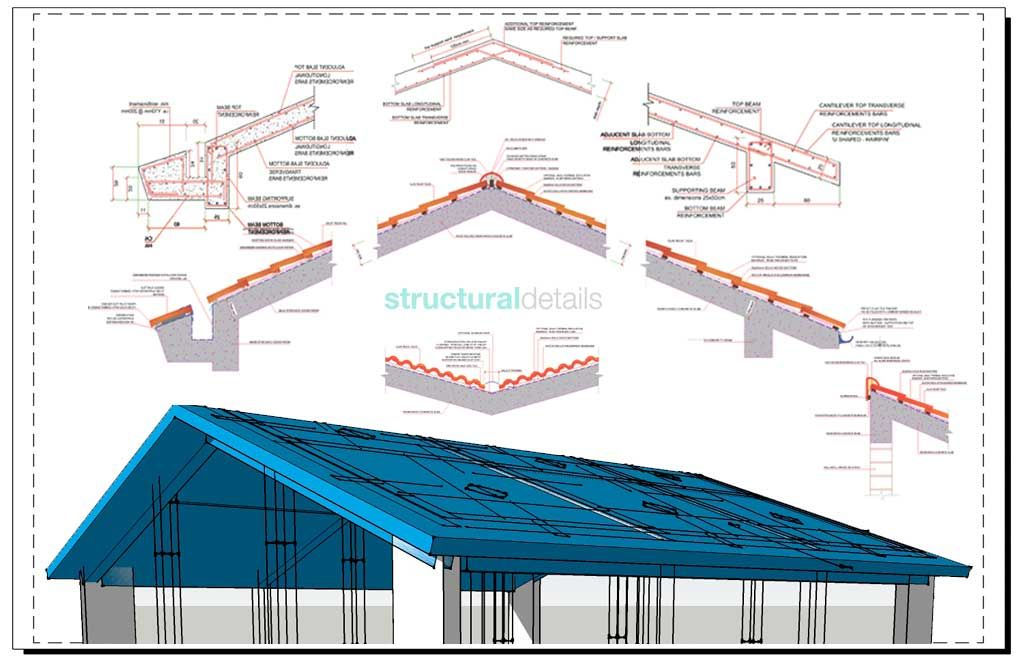 Reinforced Concrete Pitched Roof Bundled Construction Details In 2020 Roof Architecture Roof Design Concrete Roof