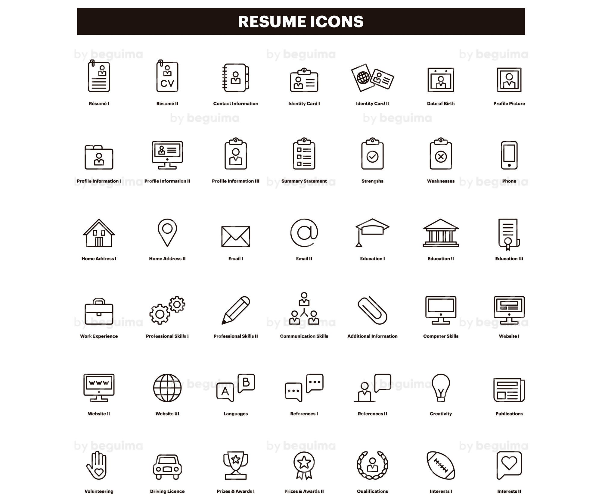 Resumeiconscvclip Artcurriculum Vitaeclipartset Of Etsy Resume Icons Clip Art Icon