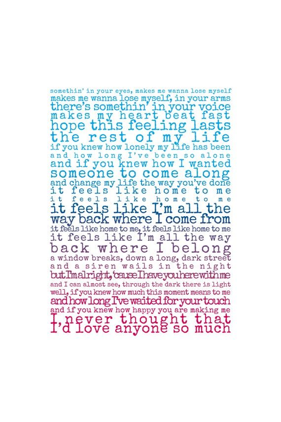 Feels Like Home Print, song lyrics print, Gift for husband, Gift for wife, song lyrics first dance a #excelwordaccessetc