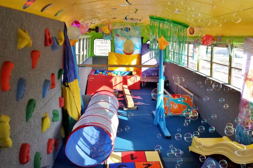The Bouncin Bus The Only Traveling Gym Fitness Center For Kids In All Of Wisconsin Kids Bus Kids Party Bus Sensory Gym