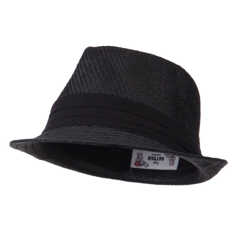 48cedcfcdb277 Toyo Fedora Hat with Black Band - Black Black