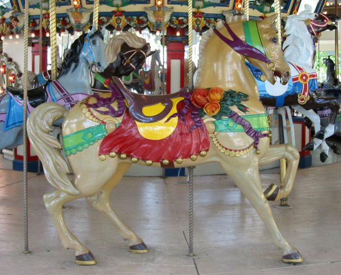 The Libertyland Carousel Dentzel Outside Row Stander With Flowers ...