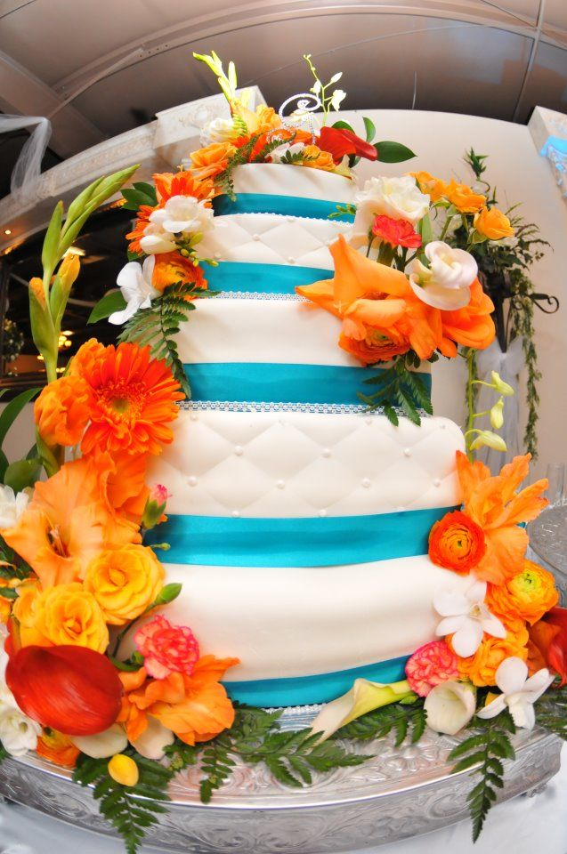 Teal And Orange Wedding Cake